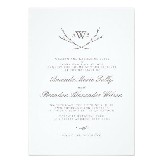 Elegant Forest Monogram Wedding Invites Zazzlecom