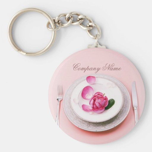 elegant fork knife plate wedding Catering Business Key Chain