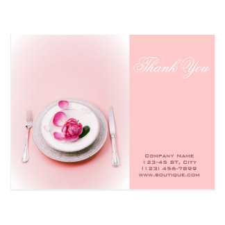 elegant fork knife plate wedding Catering Business Postcard