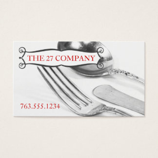 Elegant fork knife spoon silverware chef catering business card