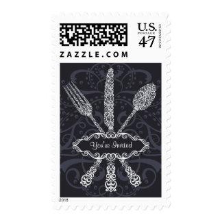 Elegant Fork Spoon & Knife Postage Stamp