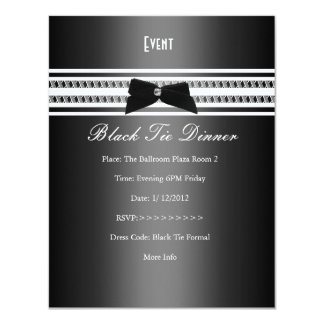 Elegant Formal Black Tie Silver Grey Dinner 2 4.25x5.5 Paper Invitation Card