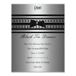 Elegant Formal Black Tie Silver Grey Dinner 4.25x5.5 Paper Invitation Card