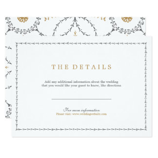 Elegant formal classic vintage wedding detail card
