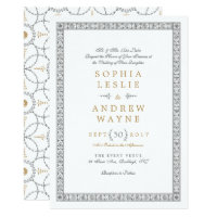 Elegant formal classic vintage wedding invitation