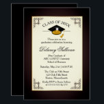 """Elegant Formal Gold College Graduation Party Card<br><div class=""""desc"""">Elegant silver and gold graduation cap college or university graduation announcement and party invitation that is understated with an aged look filter applied. Simply personalize with your celebration details.  Design by Holiday Hearts Designs (rights reserved).</div>"""