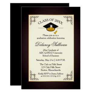 Formal 5x7 graduation invitations zazzle elegant formal gold college graduation party invitation stopboris Images