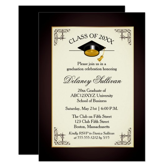 elegant formal gold college graduation party invitation zazzle com