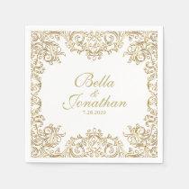 Elegant Formal Wedding Gold & White Custom Napkin