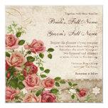 "Elegant Formal Wedding Invite Tea Rose Vintage 5.25"" Square Invitation Card"