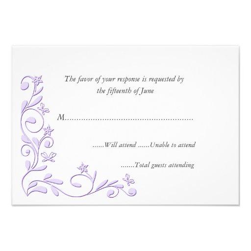 "Elegant Formal Wedding Response Card 3.5"" X 5"" Invitation"