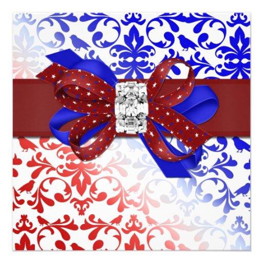 Elegant Fourth of July Invitation with Diamond Bow