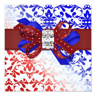 Elegant Fourth of July Invitation with Diamond Bow