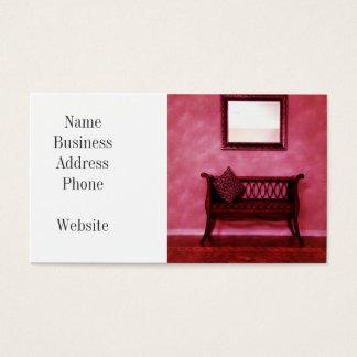 Elegant Foyer Settee Seat Mirror Interior Design Business Card