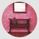 Elegant Foyer Settee Seat Mirror Interior Design Classic Round Sticker