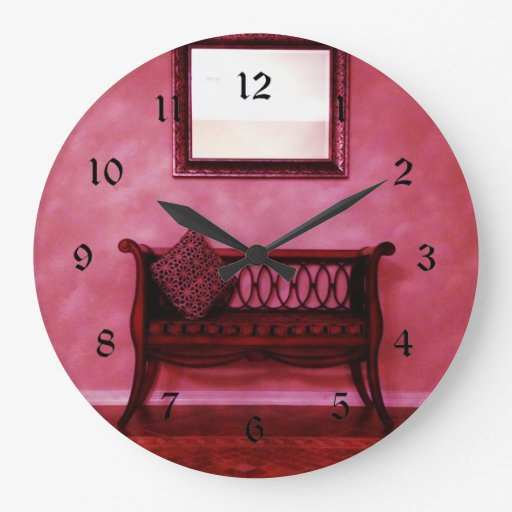 Large Clock In Foyer : Elegant foyer settee seat mirror interior design wallclock