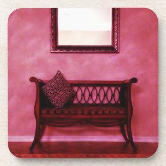 Elegant Foyer Settee Seat Mirror Interior Design Drink Coaster