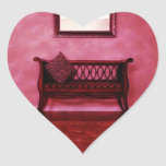 Elegant Foyer Settee Seat Mirror Interior Design Heart Sticker