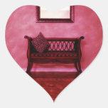 Elegant Foyer Settee Seat Mirror Interior Design Heart Sticker
