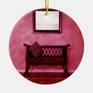 Elegant Foyer Settee Seat Mirror Interior Design Christmas Ornaments
