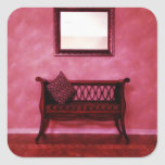 Elegant Foyer Settee Seat Mirror Interior Design Square Sticker