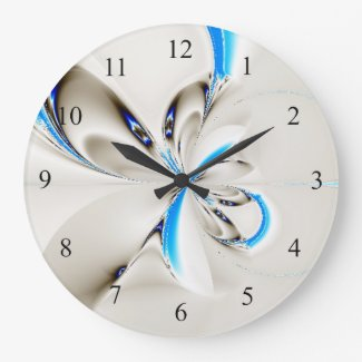 Elegant Fractal Blue Wall Clock