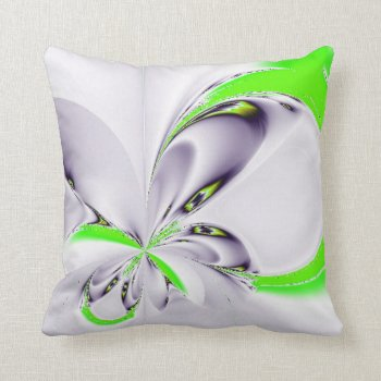 Elegant Fractal Touch of Green Throw Pillow