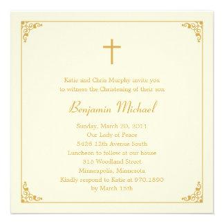 Elegant Frame Baptism Christening Invitation Announcement