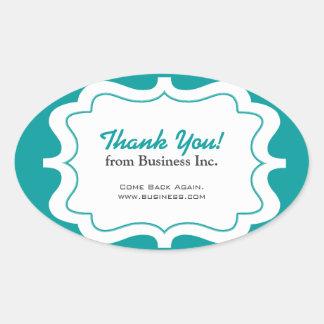 Elegant Frame Business Thank You Blue Oval Sticker