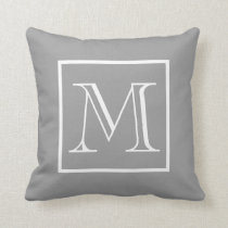 Elegant Frame Gray Background Monogram Throw Pillow