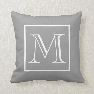 Elegant Frame Gray Background Monogram Throw Pillow