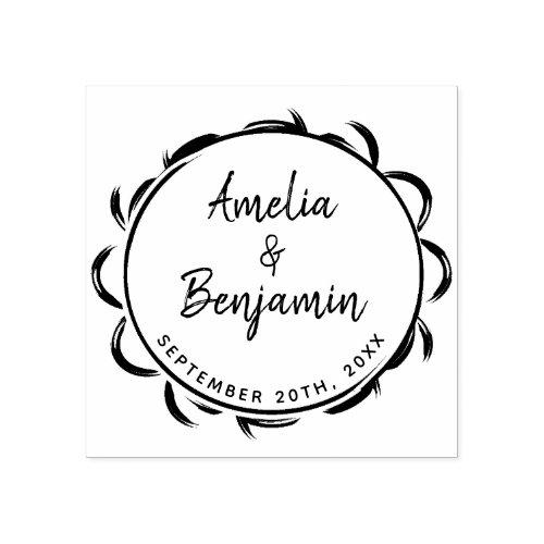 Elegant Frame Typography Bride Groom Names Wedding Rubber Stamp