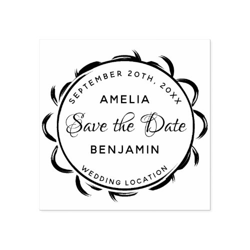 Elegant Frame Typography Wedding Save the Date Rubber Stamp