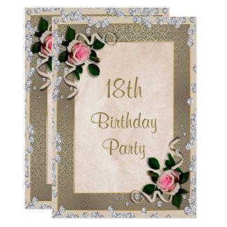 Elegant Framed Pink Roses 18th Birthday Card