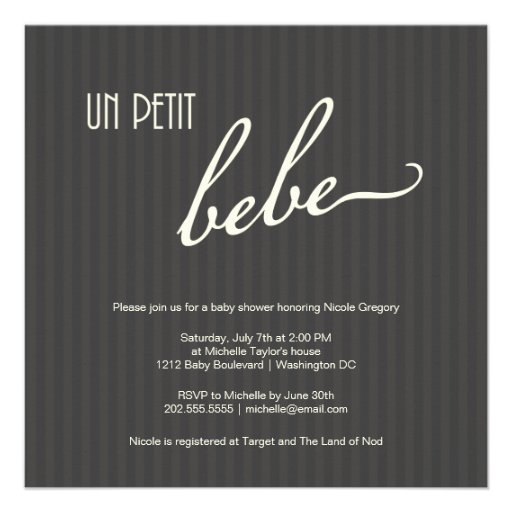 Elegant French Baby Shower Announcements