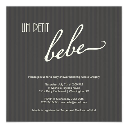 Elegant French Baby Shower 5.25x5.25 Square Paper Invitation Card