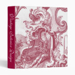Elegant French Country Antique Red Toile de Jouy 3 Ring Binder