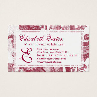 Elegant French Country Antique Red Toile de Jouy Business Card