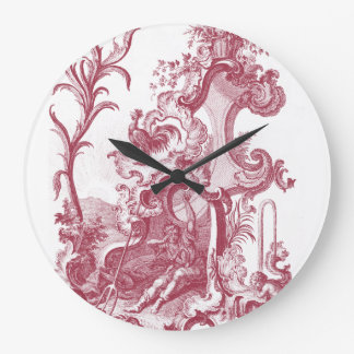 Elegant French Country Antique Red Toile de Jouy Wall Clock