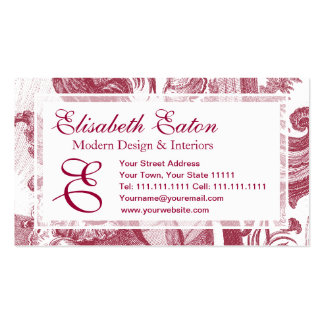 Elegant French Country Antique Red Toile de Jouy Double-Sided Standard Business Cards (Pack Of 100)