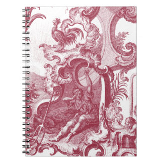 Elegant French Country Antique Red Toile de Jouy Spiral Notebooks