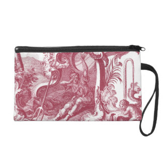 Elegant French Country Antique Red Toile de Jouy Wristlet Purse