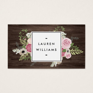 Elegant French Country Pink Roses on Woodgrain Business Card