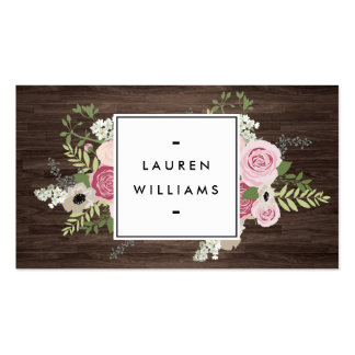 Elegant French Country Pink Roses on Woodgrain Double-Sided Standard Business Cards (Pack Of 100)