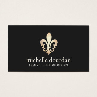 Elegant French Interior Designer Gold Fleur De Lis Business Card