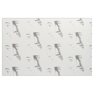 Elegant French Man Faces Antique Engraved Fabric