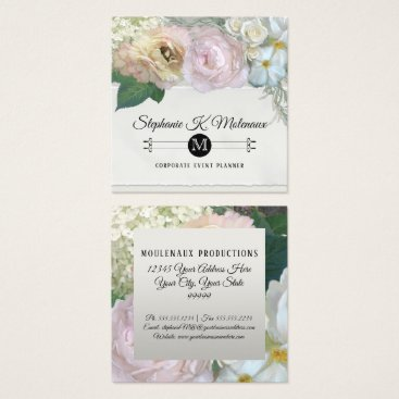 Professional Business Elegant French Market Floral Peony Rose Flower Art Square Business Card