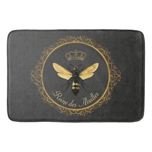 Elegant French Queen Bee Gray Gold Yellow Bath Mat