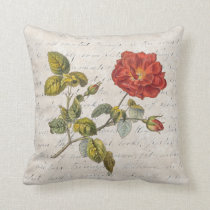 Elegant French Rose with Vintage Texts Throw Pillow