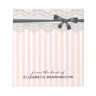 Elegant French Stripes & Lace Personalized Notepad